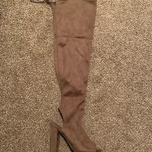 Tan open toe thigh high boots